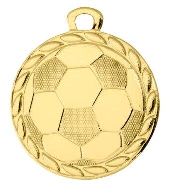 ab 50 Stück Gold, Fußball Medaille (32mm) mit Band (unmontiert)
