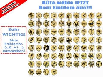 ab 10 Stück Emblemhalter auf Marmor Gold oder Silber (83mm) eigenem Logo (unmontiert)