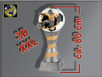 Fußballer springt aus Ball-Resin-Pokal, Multi,...