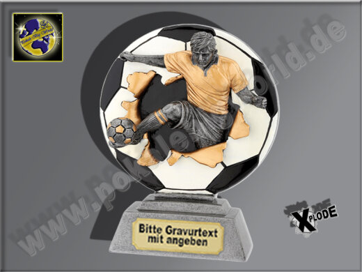 Fußballer springt aus Ball-Resin-Pokal, Antik-Silber/Gold, 18x14 cm
