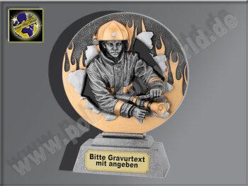Feuerwehrmann-Resin-Pokal, Antik-Silber/Gold, 20x15,5 cm