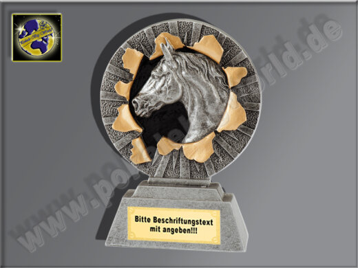 MINI-Pferdekopf-Resin-Pokal, Antik-Silber/Gold, 10x7 cm