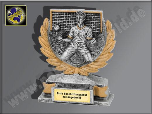 Torjubel-Resin-Pokal, Antik-Silber/Gold, 12x10 cm