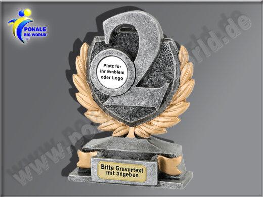 2. Platz-Resin-Pokal, Antik-Silber/Silber, 13x10 cm