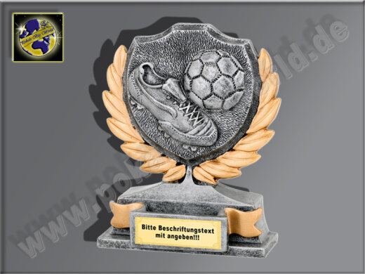 Fußball-Schuh m. Ball-Resin-Pokal, Antik-Silber/Gold, 12x10 cm