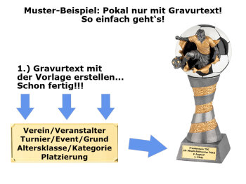 Fallrückzieher-Resin-Pokal, Antik-Silber/Gold, 13,5x10 cm