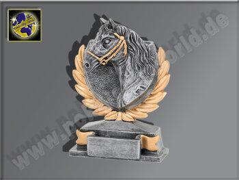 Pferdekopf-Resin-Pokal, Antik-Silber/Gold, 13,5x10 cm