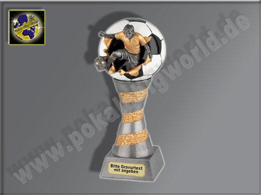Fußballer springt aus Ball | 3D-Resin-Pokal, Multi, 26x10 cm