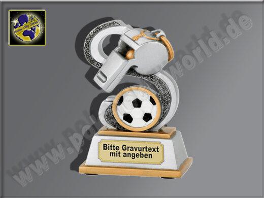 Schiedsrichterpfeife-Resin-Pokal, Antik-Silber/Gold, 10,5x6,5 cm