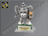 Henkel-Pokal-Männchen mit Sieger-Pokal-Resin-Pokal, Antik-Silber/Gold, 12x8 cm