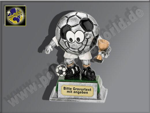Fußballl-Männchen mit Sieger-Pokal-Resin-Pokal, Antik-Silber/Gold, 12x8,5 cm