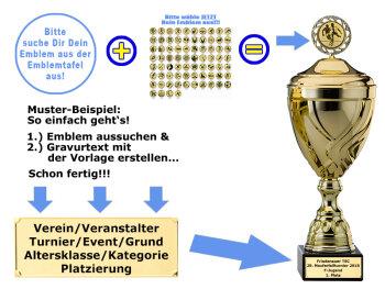 Pokal-Männchen mit Sieger-Pokal-Resin-Pokal, Antik-Silber/Gold, 7,5x6,3 cm