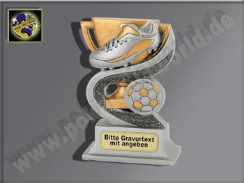 Fußball-Schuh-Resin-Pokal, Antik-Silber/Gold, 12x8 cm