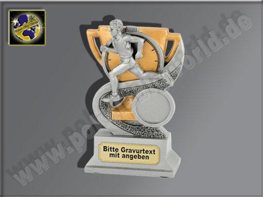 Läufer u. Stoppuhr-Resin-Pokal, Antik-Silber/Gold, 12x8 cm
