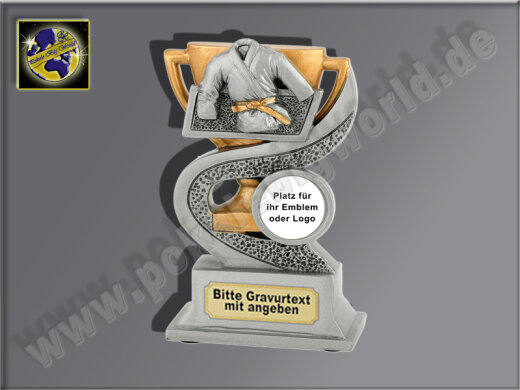 Judo-Dress-Resin-Pokal, Antik-Silber/Gold, 12x8 cm