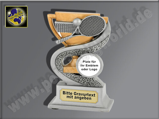 Tennis-Resin-Pokal, Antik-Silber/Gold, 12x8 cm