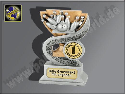Bowling-Resin-Pokal, Antik-Silber/Gold, 12x8 cm