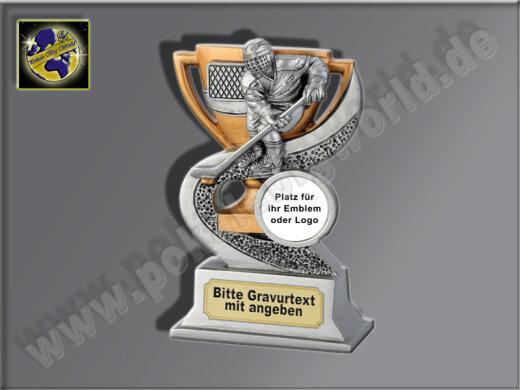 Eishockey-Resin-Pokal, Antik-Silber/Gold, 12x8 cm