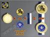D9A.27   Bronze-Medaille, 70mm Ø, m. Band und eigenem Logo/Emblem, (unmontiert)