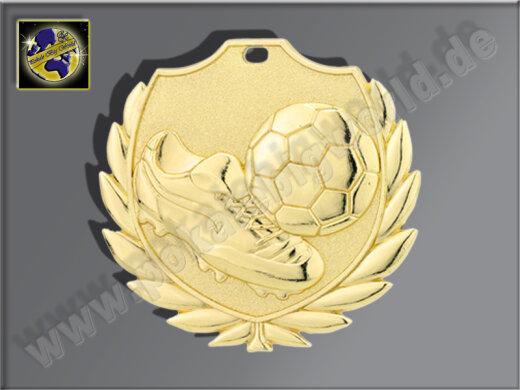 """D77B.01   Gold-Medaille-Motiv """"Fußballschuh m. Ball"""", 50mm Ø, m. Band (unmontiert)"""