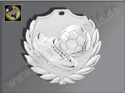 """D77B.02   Silber-Medaille-Motiv """"Fußballschuh m. Ball"""", 50mm Ø, m. Band (unmontiert)"""