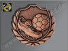 """D77B.27   Bronze-Medaille-Motiv """"Fußballschuh m. Ball"""", 50mm Ø, m. Band (unmontiert)"""