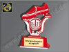 Fußball-Schuh-Kunststoff Ständer, Rot/Silber, 10,5x6,5 cm
