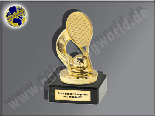 Tennis, Tennisspiel, Tennisschläger-Mini-Pokal, Gold, 9,5x5 cm