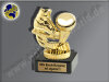 Eishockey-Schlittschuh m. Puck-Mini-Pokal, Gold, 9,5x7 cm