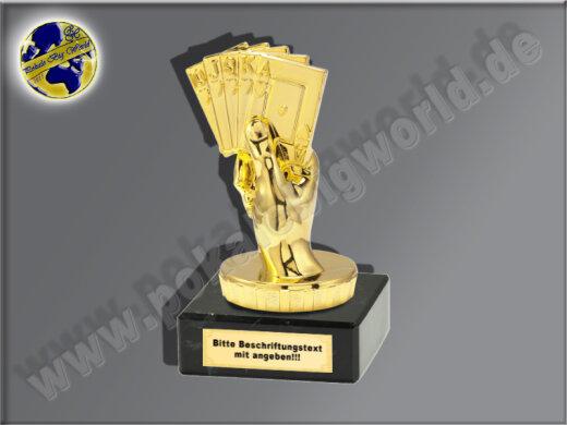 Kartenspiel, Pokerblatt, Karten spielen-Mini-Pokal, Gold, 10x5 cm