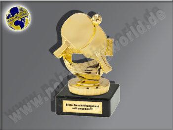 Tischtennis-Schläger mit Ball-Mini-Pokal, Gold, 10x8 cm
