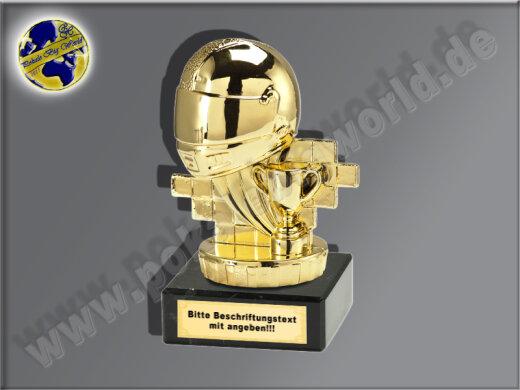 Motorrad-Helm mit Siegerpokal-Mini-Pokal, Gold, 10x6,5 cm