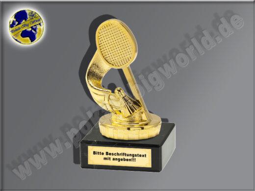 Federball-Badminton-Mini-Pokal, Gold, 10x5 cm