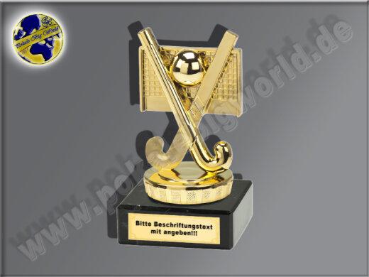 Feldhockey-Schläger mit Tor und Ball-Mini-Pokal, Gold, 10x5 cm