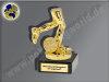 Läufer-Leichtatheltik mit Stoppuhr-Mini-Pokal, Gold, 9,5x6,5 cm