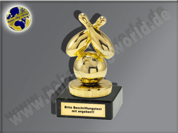 Bowling, Kegel, Loser-Pechpokal-Mini-Pokal, Gold, 10x5 cm