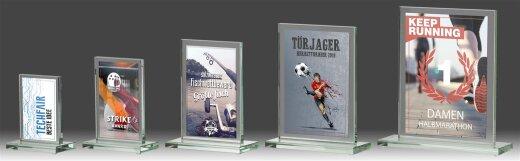 B316.0   5er Glaspokal-Serie, Transparent, mit Sublimationsdruck, 7x10-8x12,5-10x15-12,5x17,5-15x20 cm (inkl. Personalisierungskosten)