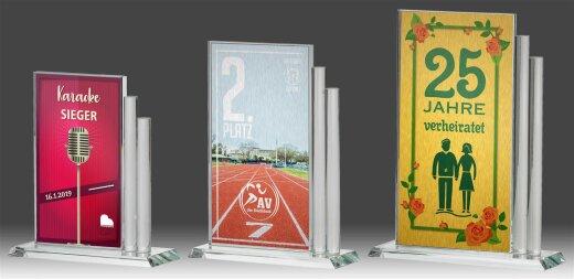 B317.0   3er Glaspokal-Serie, Transparent, mit Sublimationsdruck, 12,5x17,7-13,5x20,6-14,5x23,5 cm (inkl. Personalisierungskosten)