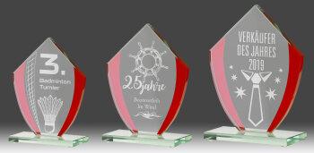 B319.0   3er Glaspokal-Serie, Transparent/Rot, mit...