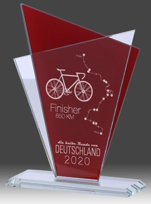 Glaspokal, Transparent/Rot, mit Laser-Gravur, 145x195 cm (inkl. Personalisierungskosten)