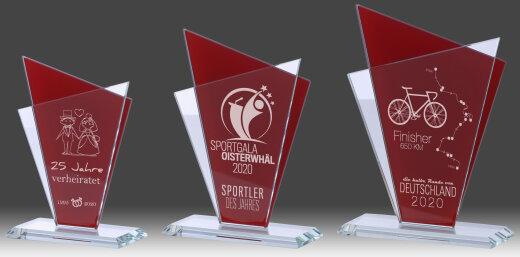 3er Glaspokal-Serie, Transparent/Rot, mit Laser-Gravur (inkl. Personalisierungskosten)