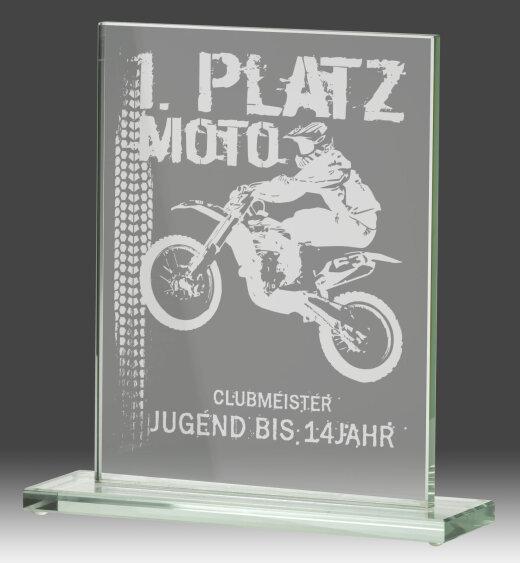 B326.1   Glaspokal, Transparent, mit Laser-Gravur, 7x10 cm (inkl. Personalisierungskosten)