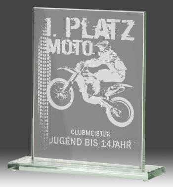 B326.3   Glaspokal, Transparent, mit Laser-Gravur, 10x15...
