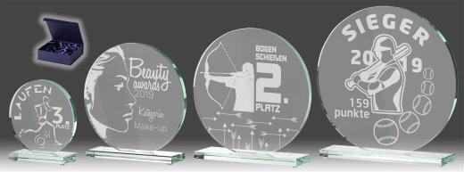 B331.0   4er Glaspokal-Serie inkl. edler Samt-Gift-Box, Transparent, mit Laser-Gravur, 10x10-15x15-17x17-20x20 cm (inkl. Personalisierungskosten)