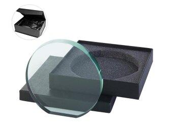B334.1   Glaspokal inkl. edler Samt-Gift-Box, Transparent, mit Laser-Gravur, 9,5x10 cm (inkl. Personalisierungskosten)