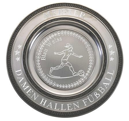 """D111.2   Zinnteller """"Deko"""", Antik-Silber, mit Gravur, 23 cm Ø (inkl. Personalisierungskosten)"""