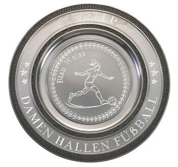 """D111.3   Zinnteller """"Deko"""", Antik-Silber, mit Gravur, 27 cm Ø (inkl. Personalisierungskosten)"""