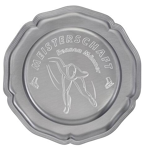 """D112.1   Zinnteller """"Deko"""", Antik-Silber, mit Gravur, 14 cm Ø (inkl. Personalisierungskosten)"""