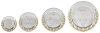 """D116.0   4 er Metallteller-Serie """"Deko"""", silber-/goldfarben, mit Gravur, 10-12,5-15-20 cm Ø (inkl. Personalisierungskosten)"""