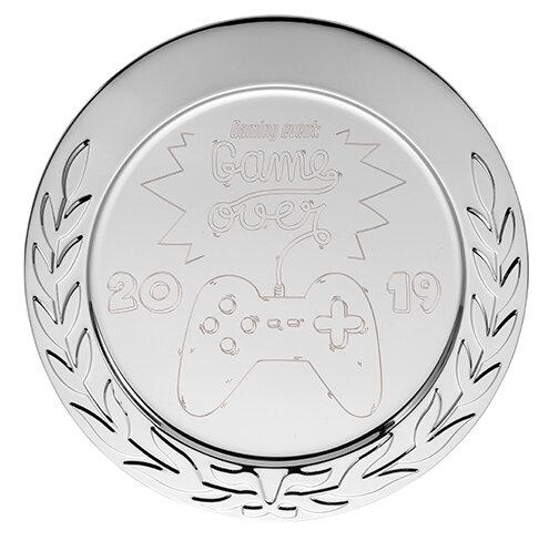 """D114.1   Metallteller """"Deko"""", silberfarben, mit Gravur, 10 cm Ø (inkl. Personalisierungskosten)"""